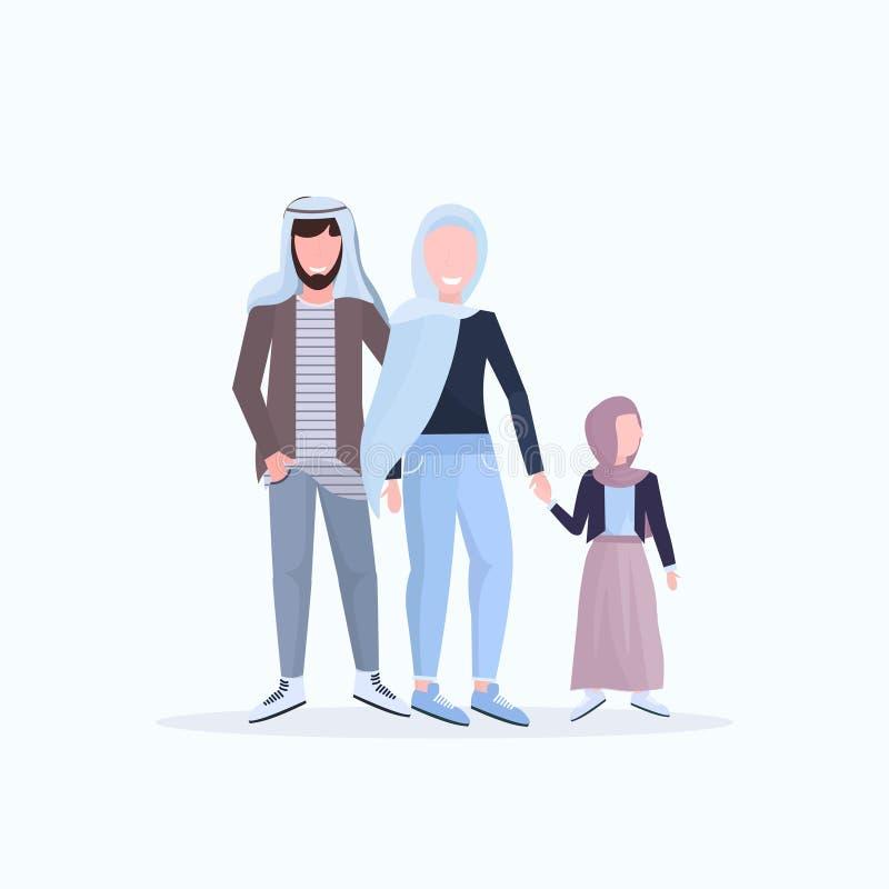 阿拉伯父亲一起走在传统衣裳的母亲和小女儿愉快的阿拉伯家庭获得平展白色的乐趣 库存例证