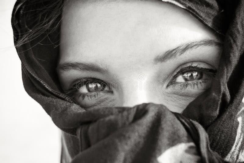 阿拉伯眼睛特写镜头 库存照片