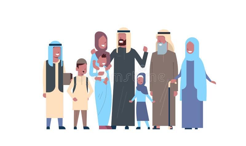 阿拉伯祖父母做父母儿童孙,多一代家庭,白色背景的全长具体化,愉快 皇族释放例证