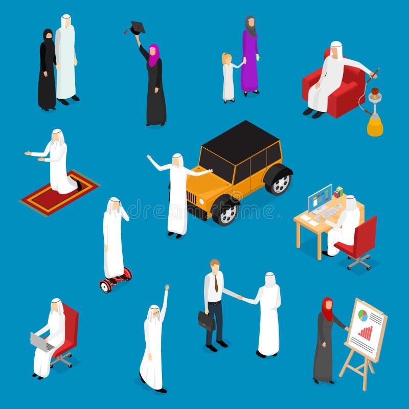 阿拉伯穆斯林人3d象设置了等轴测图 向量 皇族释放例证