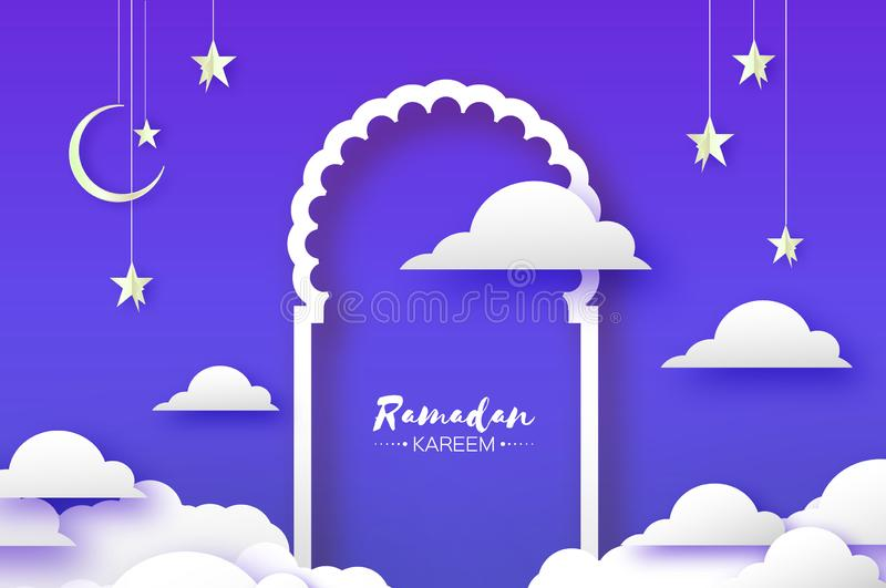阿拉伯窗口在papercraft样式成拱形 Origami赖买丹月Kareem贺卡 新月形月亮和星 圣洁月  向量例证