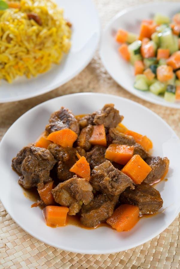 阿拉伯米和羊肉 免版税库存图片