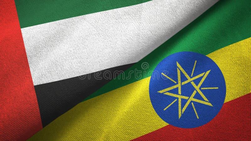 阿拉伯联合酋长国和埃塞俄比亚两旗子纺织品布料,织品纹理 库存例证
