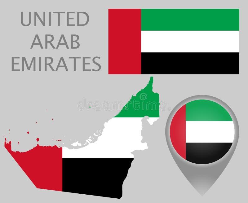 阿拉伯联合酋长国旗子、地图和地图尖 向量例证