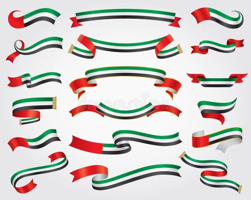 阿拉伯联合酋长国旗子丝带集合 库存例证