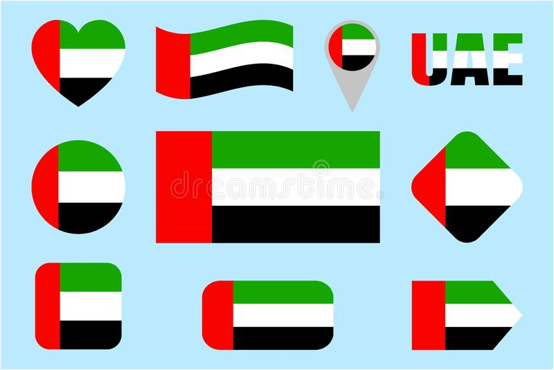 阿拉伯联合酋长国旗子汇集 导航被设置的阿联酋旗子 舱内甲板被隔绝的象 传统颜色 网,运动栏,国家 库存例证