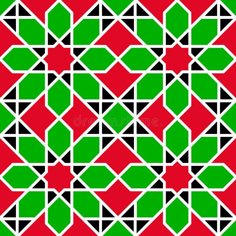 阿拉伯联合酋长国无缝的样式 阿拉伯语重复的背景 传统旗子颜色 红色,绿色,白色,黑色 伊斯兰教的装饰des 皇族释放例证