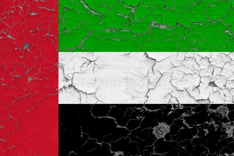 阿拉伯联合酋长国的旗子在破裂的肮脏的墙壁上绘了 葡萄酒样式表面上的全国样式 库存例证