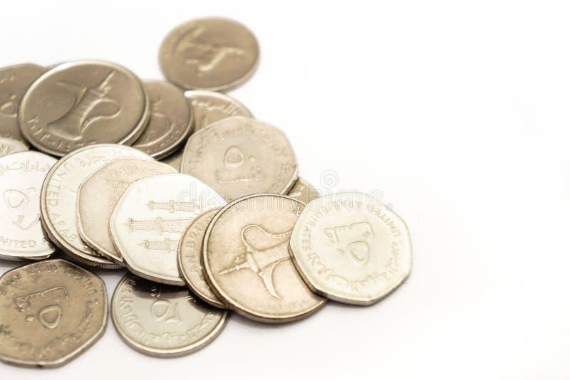 阿拉伯联合酋长国的现金和硬币 库存照片