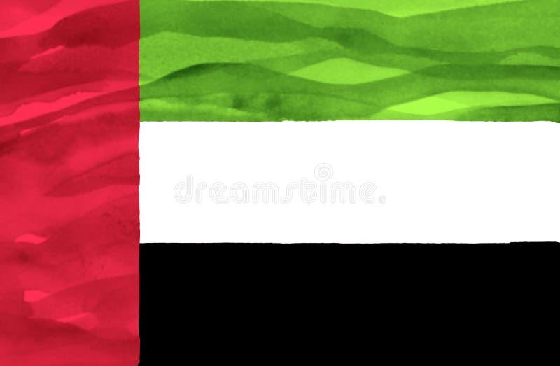 阿拉伯联合酋长国的被绘的旗子 免版税库存图片