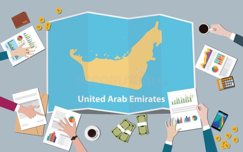 阿拉伯联合酋长国阿拉伯联合酋长国国家成长国家队与折叠从上面的地图视图谈论 皇族释放例证