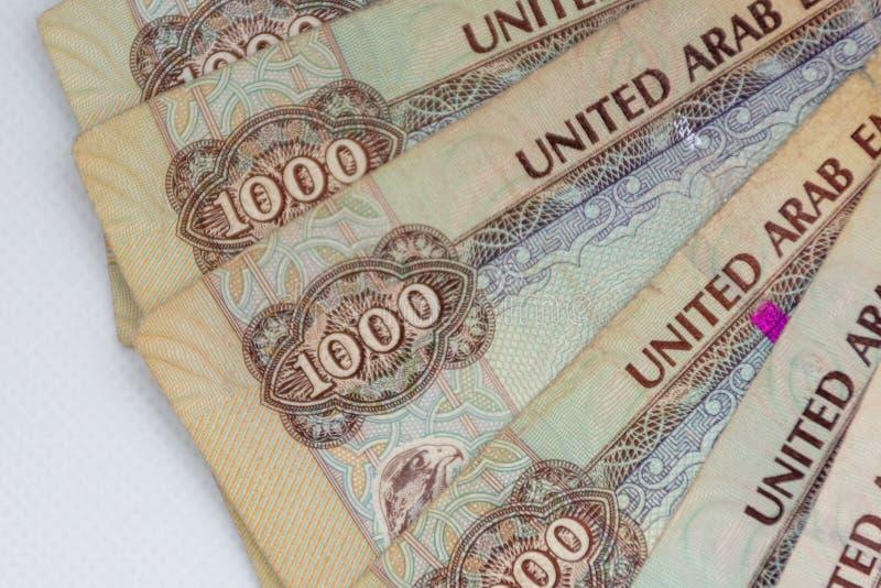 阿拉伯联合酋长国阿拉伯联合酋长国的货币-一千迪拉姆笔记在白色背景延长 兑换处 库存照片