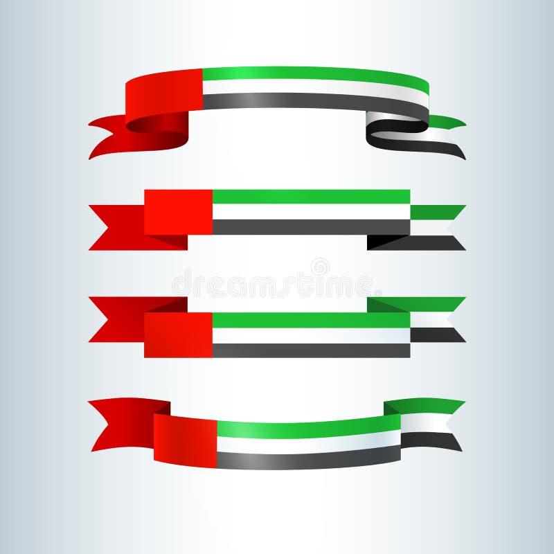 阿拉伯联合酋长国阿拉伯联合酋长国的阿拉伯联合酋长国旗子丝带横幅丝带象国旗卡片横幅的在假日题材国庆节 皇族释放例证