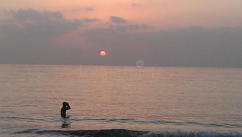 阿拉伯联合酋长国,太阳,海滩,海,水,沙子,早晨,晚上, 库存照片