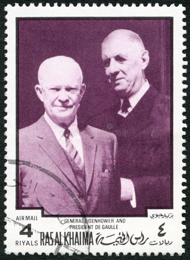 阿拉伯联合酋长国-大约1970年:展示代特D 艾森豪威尔1890-1969和夏尔・戴高乐1890-1970 图库摄影
