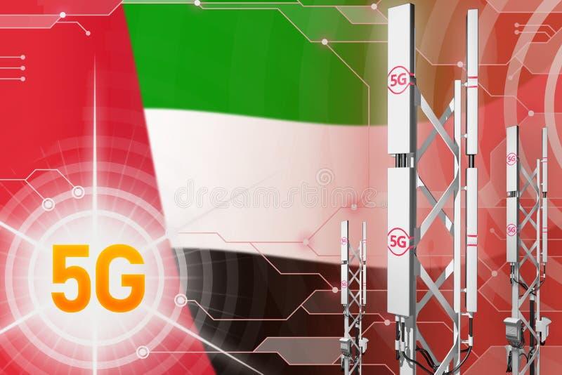 阿拉伯联合酋长国5G工业例证、巨大的多孔的网络帆柱或者塔在现代背景与旗子- 3D 皇族释放例证