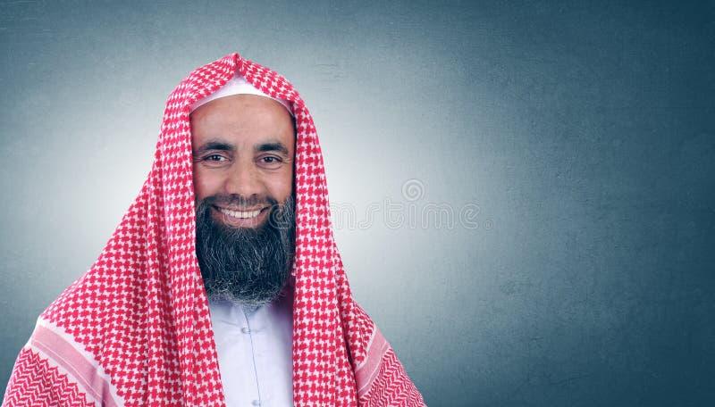 阿拉伯胡子伊斯兰回教族长微笑 免版税库存图片