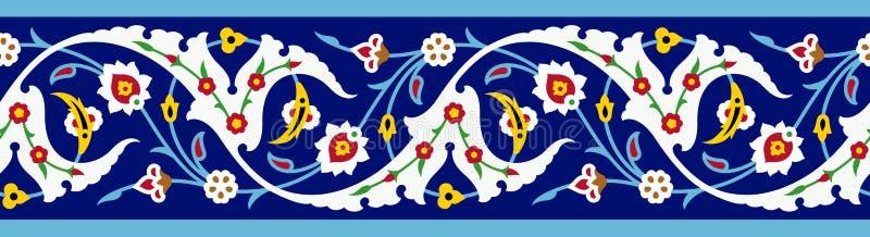 阿拉伯花卉五颜六色的无缝的边界 皇族释放例证
