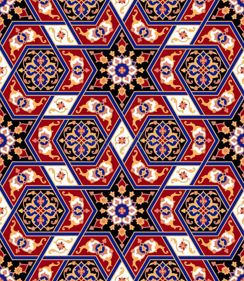 阿拉伯花卉无缝的样式 背景伊斯兰传统 库存例证