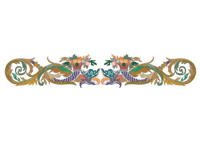阿拉伯花卉无缝的边界 传统伊斯兰教的设计 清真寺装饰元素 使用木炭羽毛画笔(膨胀)作为分级显示, - 库存例证