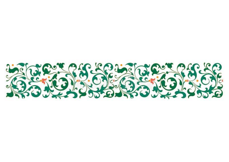 阿拉伯花卉无缝的边界 传统伊斯兰教的设计 清真寺装饰元素 使用木炭羽毛画笔(膨胀)作为分级显示, - 向量例证