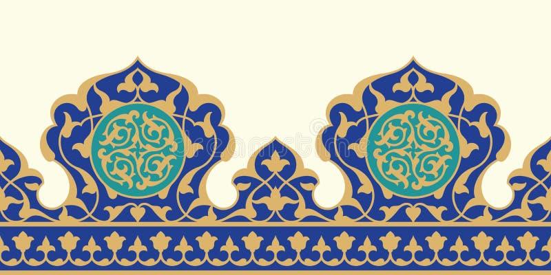 阿拉伯花卉无缝的边界 传统伊斯兰教的设计 向量例证