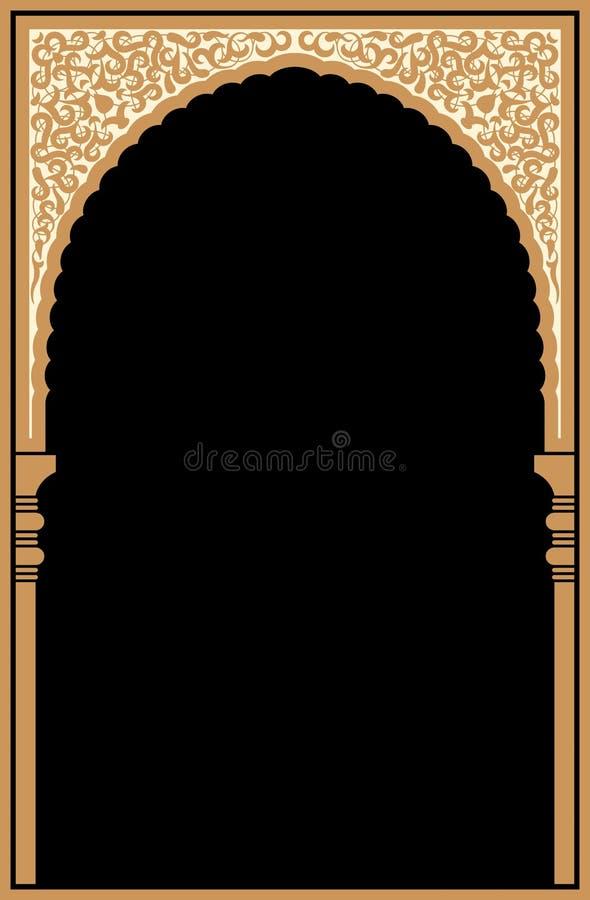 阿拉伯花卉曲拱 背景伊斯兰传统 清真寺装饰元素 向量例证