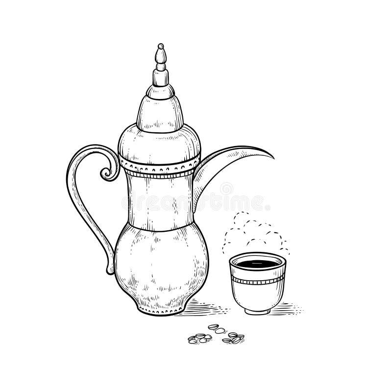 阿拉伯葡萄酒咖啡壶和杯子有一份热的饮料和调味的蒸气的,咖啡豆 传染媒介略图板刻 库存例证