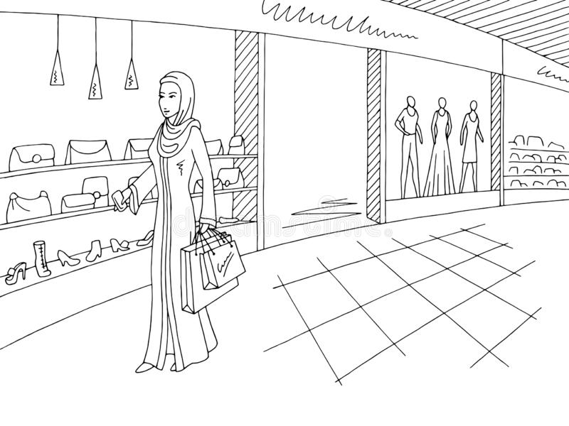 阿拉伯衣物的妇女走在购物中心图表黑白色内部剪影例证传染媒介的 向量例证