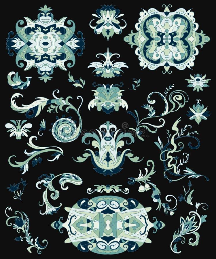 阿拉伯装饰品集合 织品的传统伊斯兰教的花卉设计元素,印刷品,包装纸,卡片,邀请,墙纸 皇族释放例证