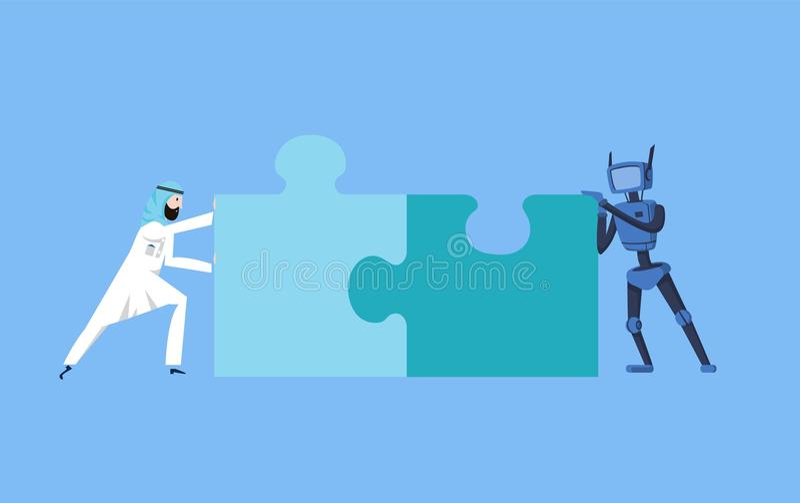 阿拉伯设法商人和蓝色的机器人汇集难题 人工智能通信 事务和AI 向量例证