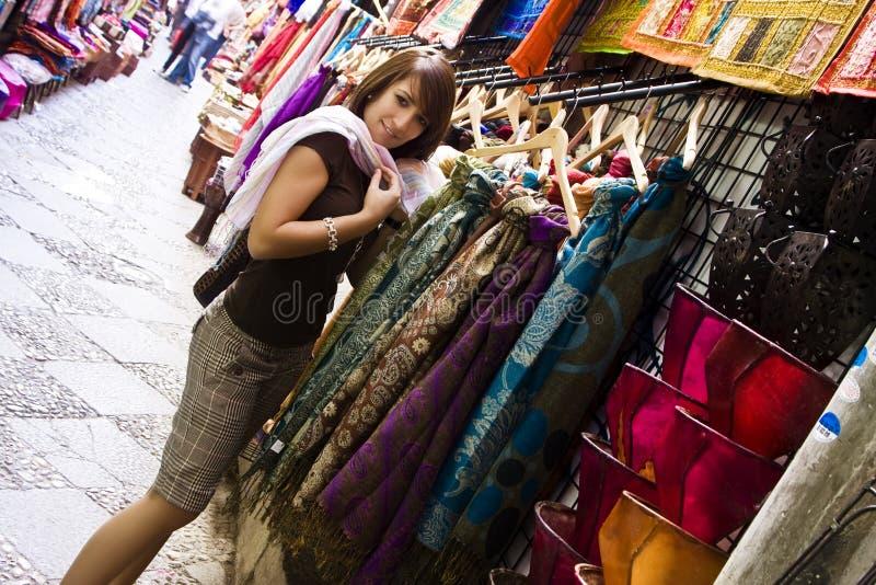 阿拉伯货物购物 图库摄影