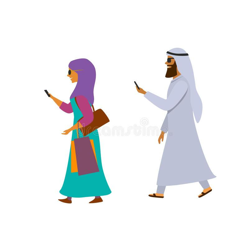阿拉伯走与智能手机的男人和妇女发短信给动画片传染媒介 库存例证