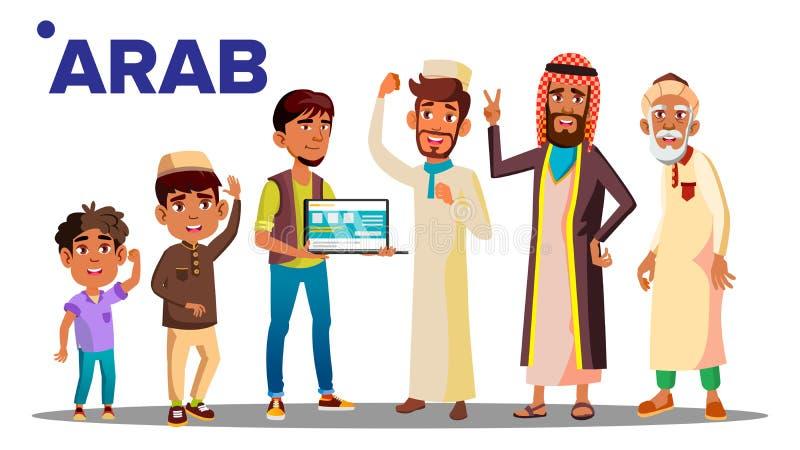 阿拉伯,回教男性人人传染媒介 祖父,父亲,儿子,孙子,婴孩传染媒介 按钮查出的现有量例证推进s启动妇女 向量例证