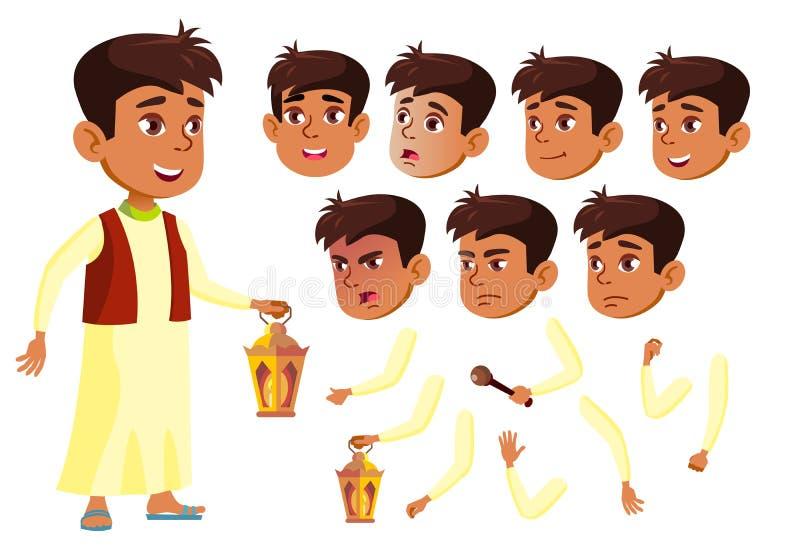 阿拉伯,回教青少年的男孩传染媒介 少年 乐趣,快乐 面孔情感,各种各样的姿态 动画创作集合 查出 皇族释放例证