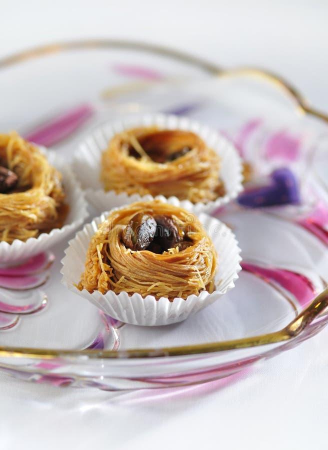 阿拉伯kunafa甜点 免版税库存照片