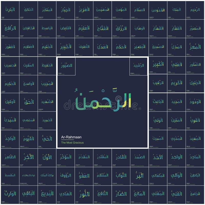 阿拉印刷术的九十九个名字 向量例证