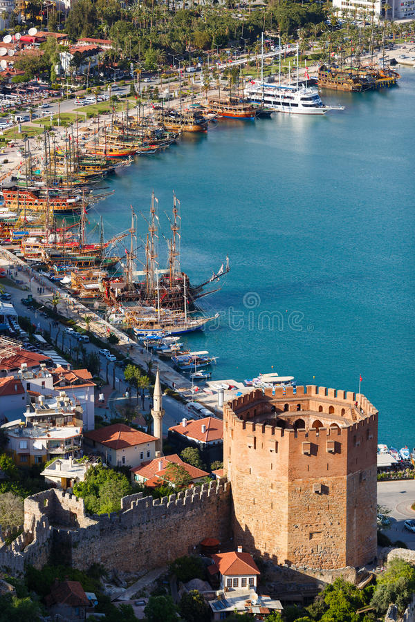 阿拉尼亚海湾,土耳其看法  免版税库存照片