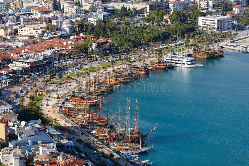 阿拉尼亚海湾,土耳其看法  库存照片