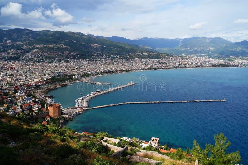 阿拉尼亚港口和海岸线,土耳其全景  免版税库存图片