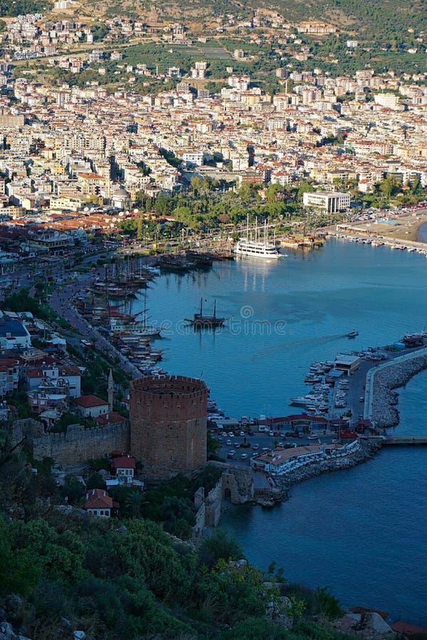 阿拉尼亚的阿拉尼亚城堡大角度看法位于土耳其 库存照片