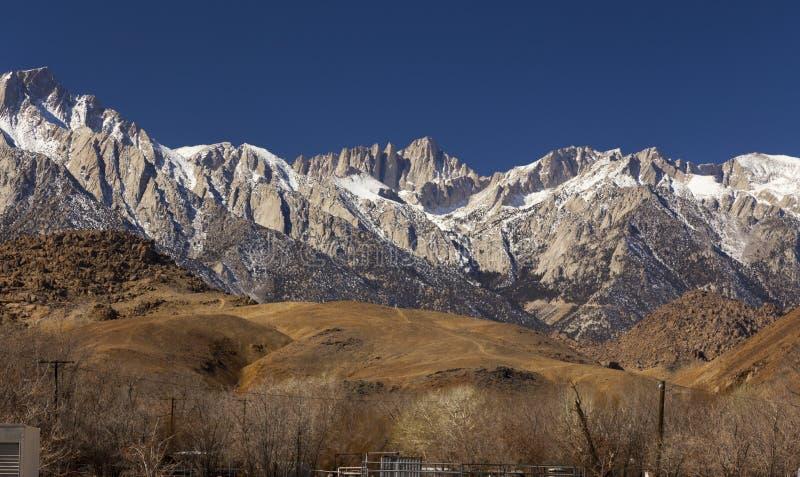 阿拉巴马小山惠特尼峰Sierr内华达风景孤立杉木加利福尼亚 免版税图库摄影