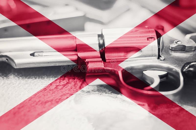 阿拉巴马旗子U S 状态枪枝管制美国 美国枪法律 免版税库存图片