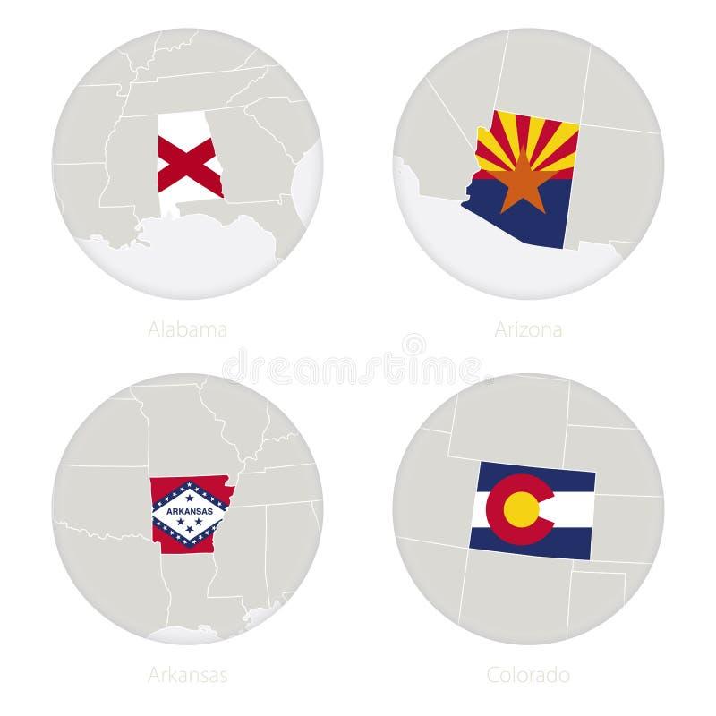 阿拉巴马,亚利桑那,阿肯色,科罗拉多美国各州映射等高和国旗在圈子 向量例证