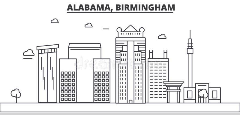 阿拉巴马,伯明翰建筑学线地平线例证 与著名地标的线性传染媒介都市风景,城市视域 库存例证