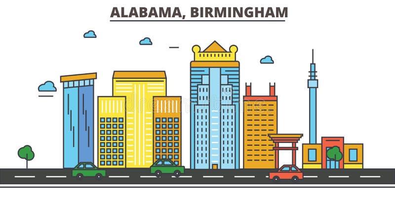 阿拉巴马,伯明翰 背景城市设计您地平线的向量 库存例证