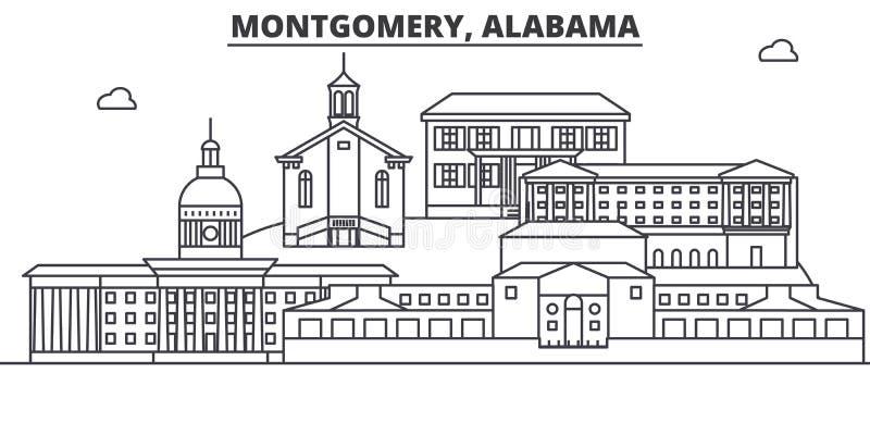 阿拉巴马,蒙加马利建筑学线地平线例证 与著名地标的线性传染媒介都市风景,城市视域 皇族释放例证