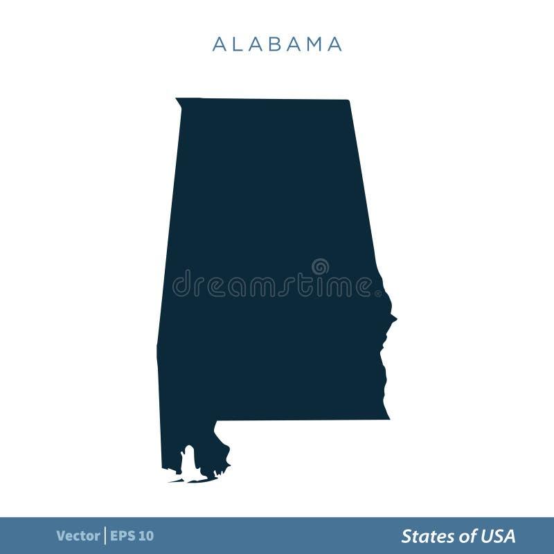 阿拉巴马-美国地图象传染媒介模板例证设计状态  o 皇族释放例证