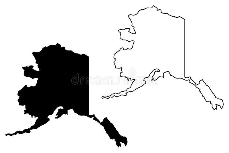阿拉斯加地图传染媒介 库存例证