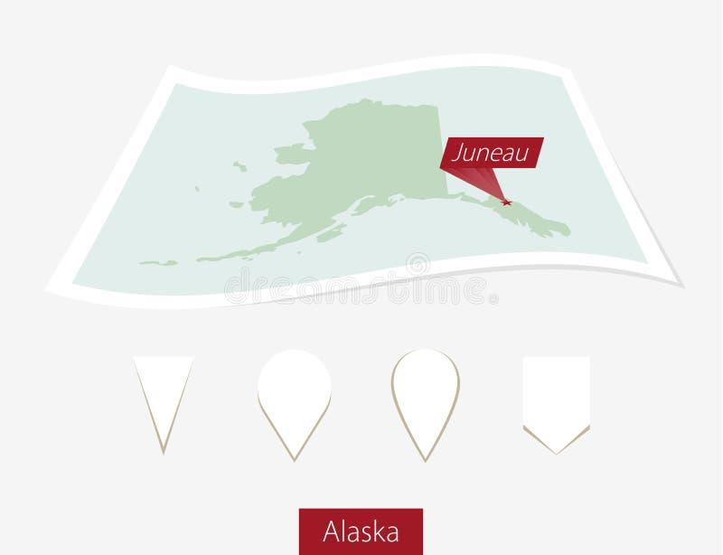 阿拉斯加州弯曲的纸地图与首都朱诺的灰色Bac的 向量例证